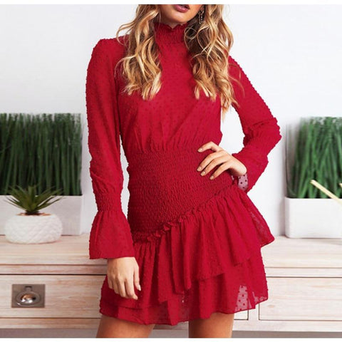 Retro Turtle Neck Casual Dress