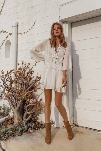White Chiffon Tassels Beach Dress