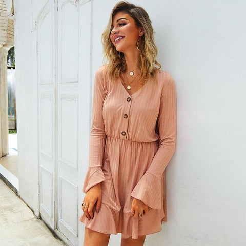 Knitted Long Sleeve Short Sweater Dress