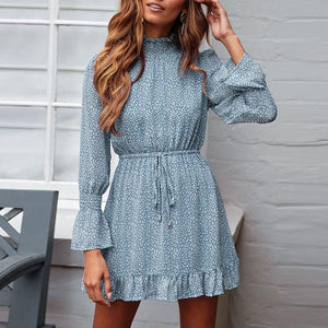 Blue Chiffon Long Sleeve Dress