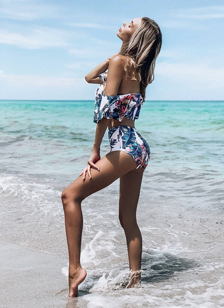 Off Shoulder Ruffle Swimsuit Bikini Set