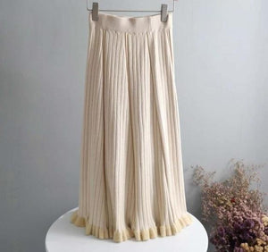 High Waist Pleated Midi Skirts