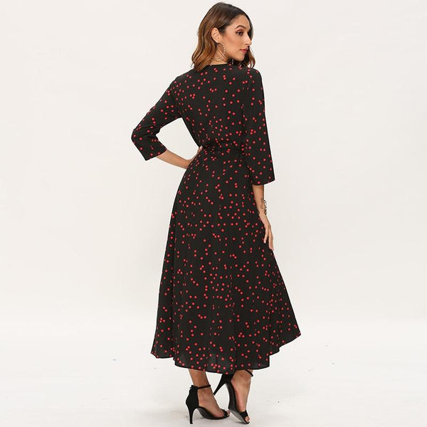 Casual Boho Dot Wrap Dresses