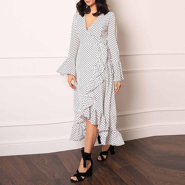 Casual Ruffle Wrap Dress