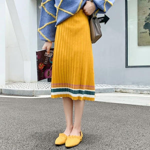 Casual Pleated Sweater Skirt