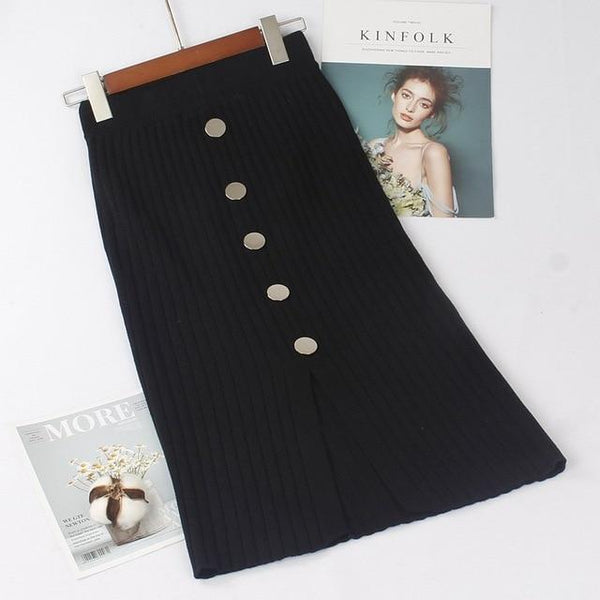 Knitted Long Skirts With Button