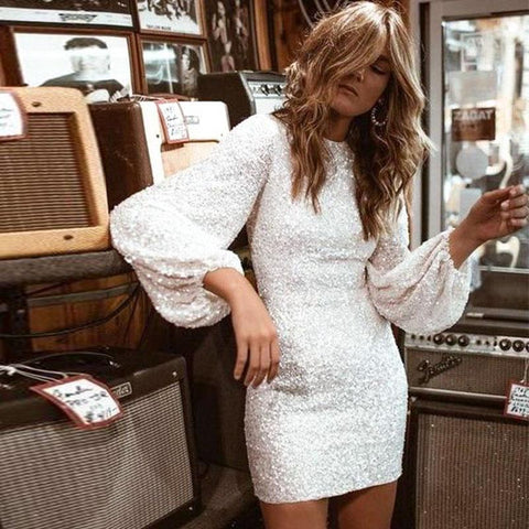 White Sequined Bodycon Party Dress