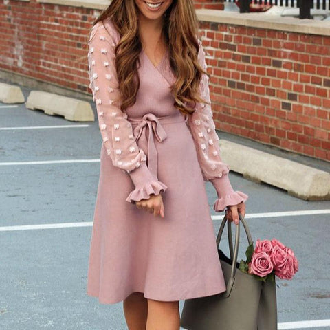 Pink Elegant Sweater Dress
