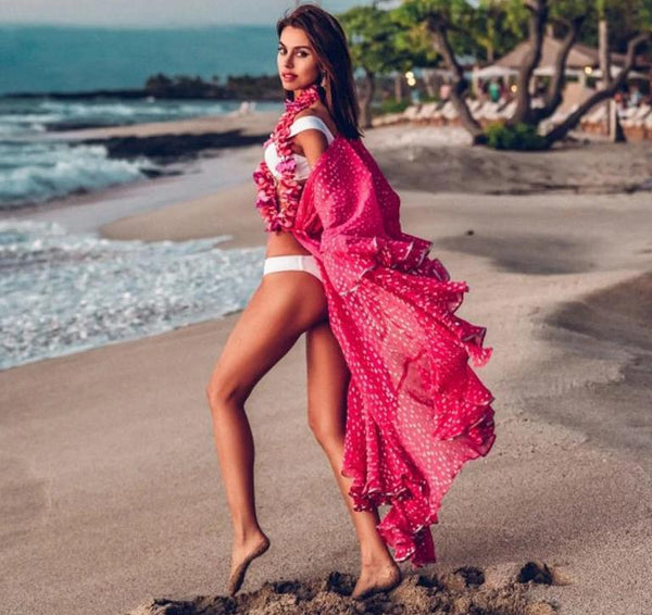 Hot Pink Dot Beach Cover-up