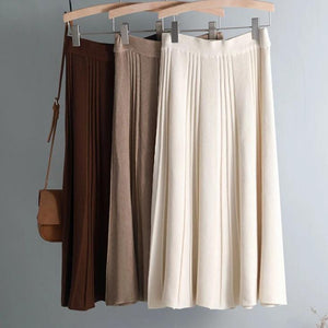 Vintage Pleated Thick Sweater Skirt