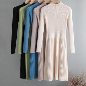 Turtleneck Slim Sweater Dress