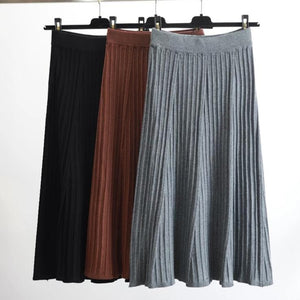 Elegant Winter Pleated knitted Skirt