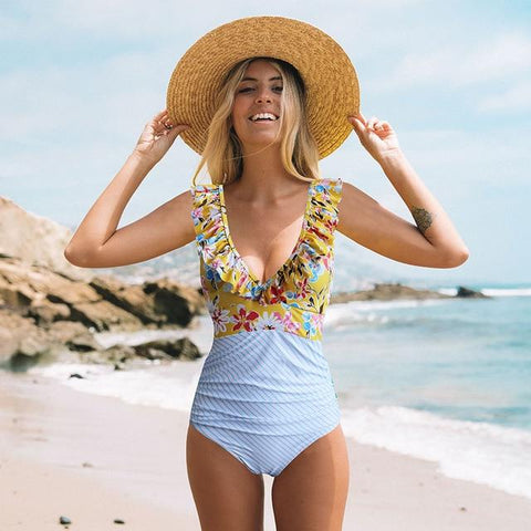Chic Style Floral Stripe Bathing Suit