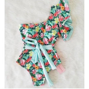One Shoulder Floral Bathing Suit