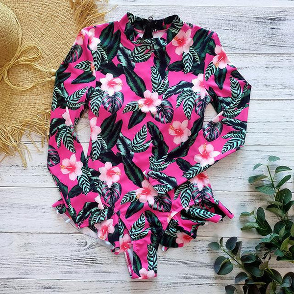 Floral Long Sleeve Swimwear