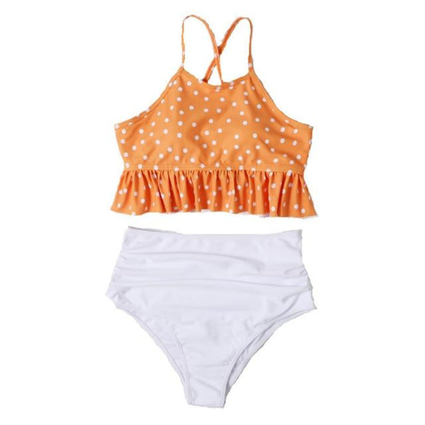 Orange White Polka Swimsuit