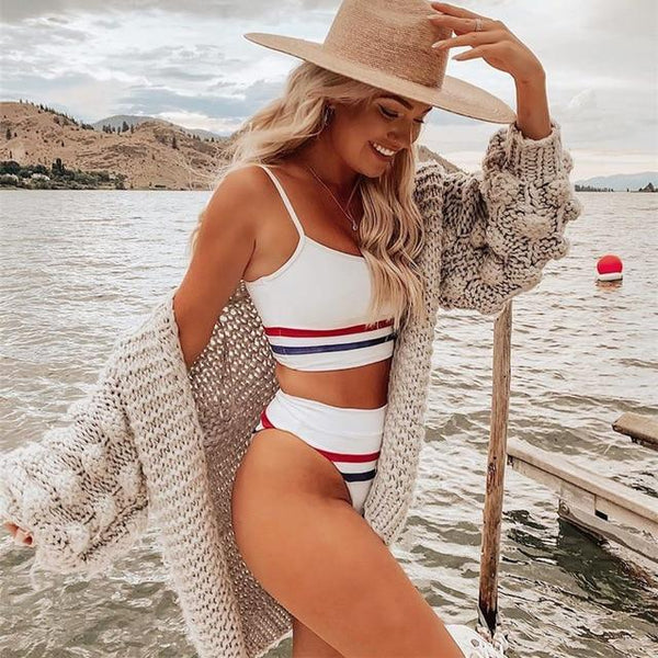 Orange White Striped Bikini Set