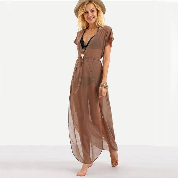 Brown See-Through Long Maxi Dress by Pesci Moda