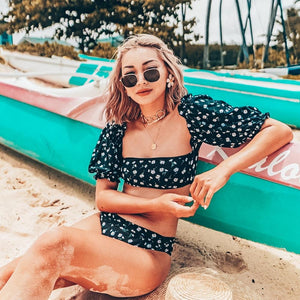 Retro Puff Sleeve Bikini Set