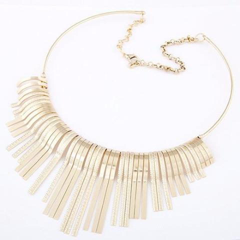Gold/Silver Tassel Choker Necklace by Pesci Moda