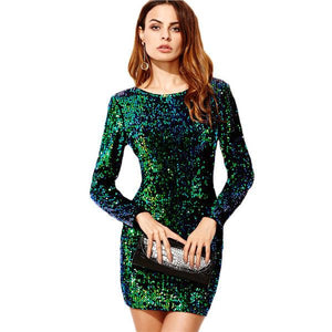 Green Elegant Sexy Sequin Bodycon Dress by Pesci Moda