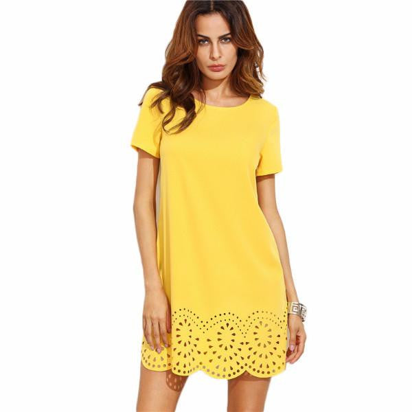 Yellow Short Sleeve Hollow Hem Mini Dress by Pesci Moda