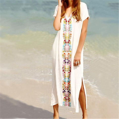 Multicolor Embroidery Kaftan Beachwear