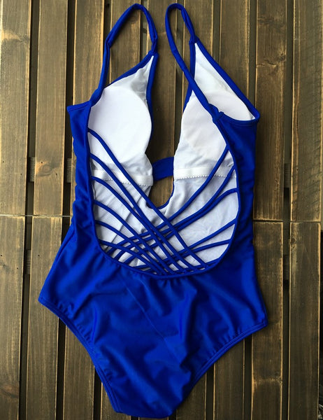 New Blue Strappy Backless Swimsuit by Pesci Moda