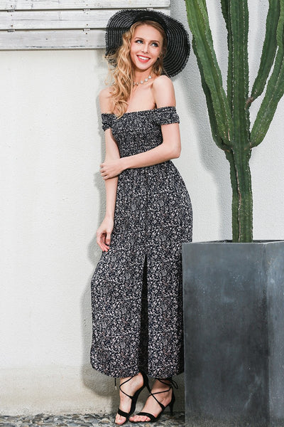 Bohemian Printed Off Shoulder Slit Maxi by Pesci Moda