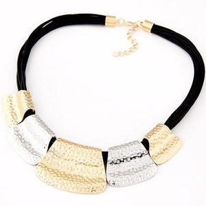 Black and Gold Fashion Statement Necklace by Pesci Moda