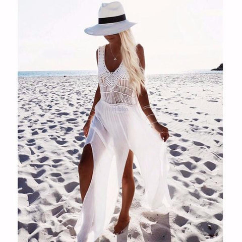 White Crochet Chiffon Beach Dress by Pesci Moda