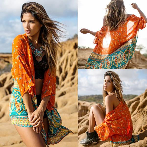 Orange Printed Vintage Bikini Cover Up by Pesci Moda