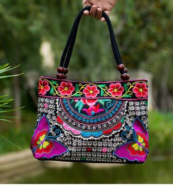 Colorful Floral Embroidered Handbag by Pesci Moda