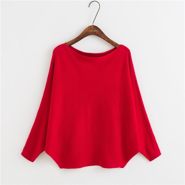 Cute Loose Batwing Sleeve Sweater by Pesci Moda