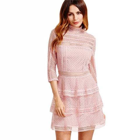 Pink Crochet Lace Dress