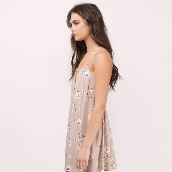 Light Pink Floral Mini Summer Dress