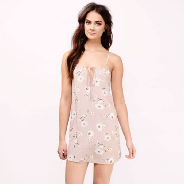 Light Pink Floral Mini Summer Dress by Pesci Moda
