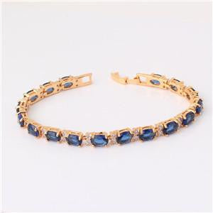 Silver/Gold-Color Oval Crystal Bracelets by Pesci Moda