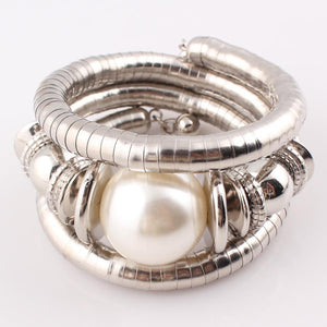 Natural Pearl Snake Adjustable Bangle by Pesci Moda