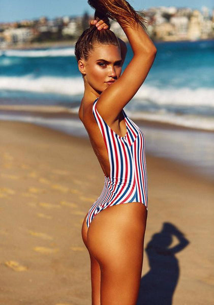 Red Blue Striped Swimsuit