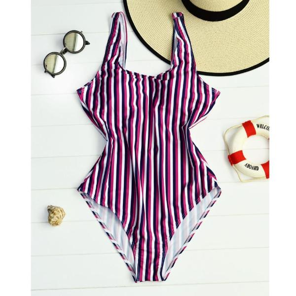 Red Blue Striped Backless Swimsuit