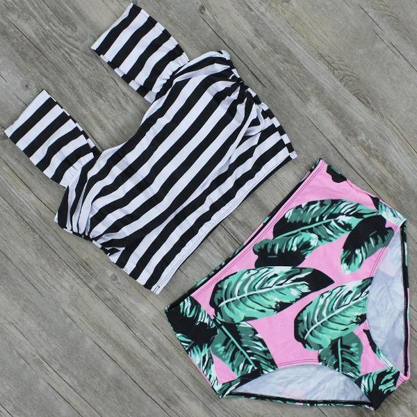 Chic Trendy Striped/Solid High Waist Swimsuit