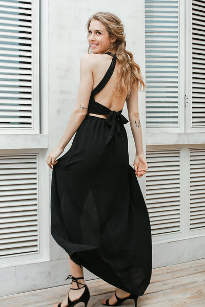 Rose Embroidery Halter Backless Black Bohemian Maxi Dress