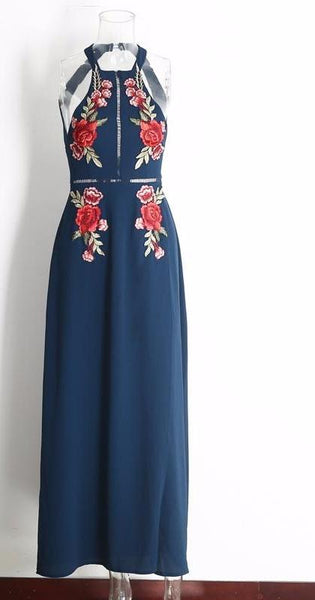 Rose Embroidery Halter Backless Blue Bohemian Maxi Dress