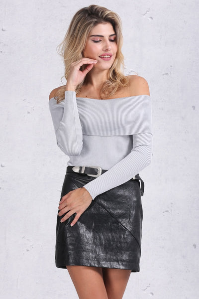 Off Shoulder Short Bodycon Basic Knitwear by Pesci Moda