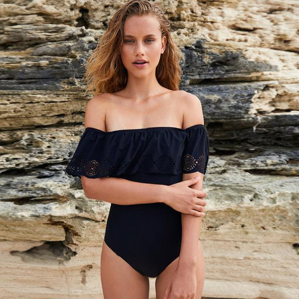 Black Trendy Off The Shoulder Swimsuit