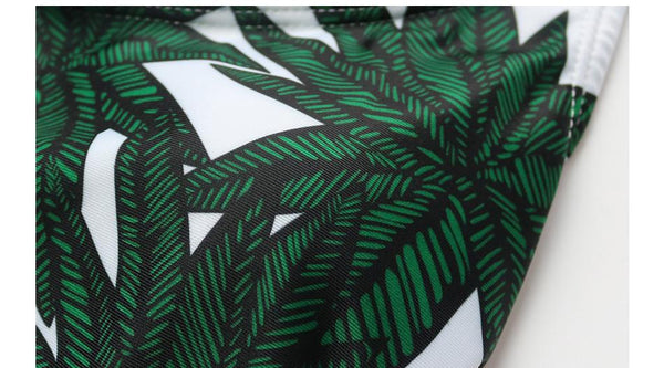 Dark Green Leaf Print Bathing Suits by Pesci Moda