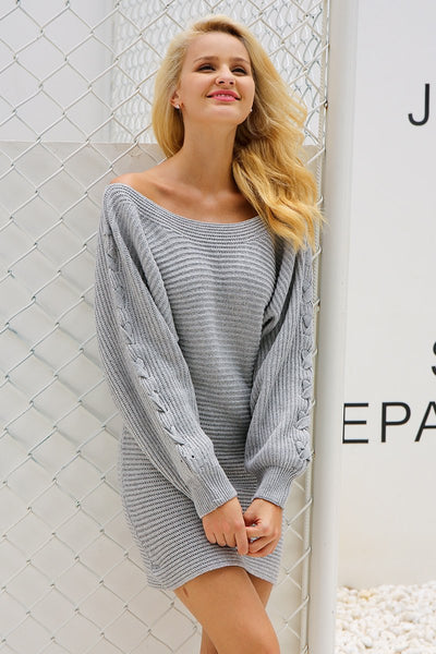 Casual Batwing Sleeve Knitted Gray Dress by Pesci Moda