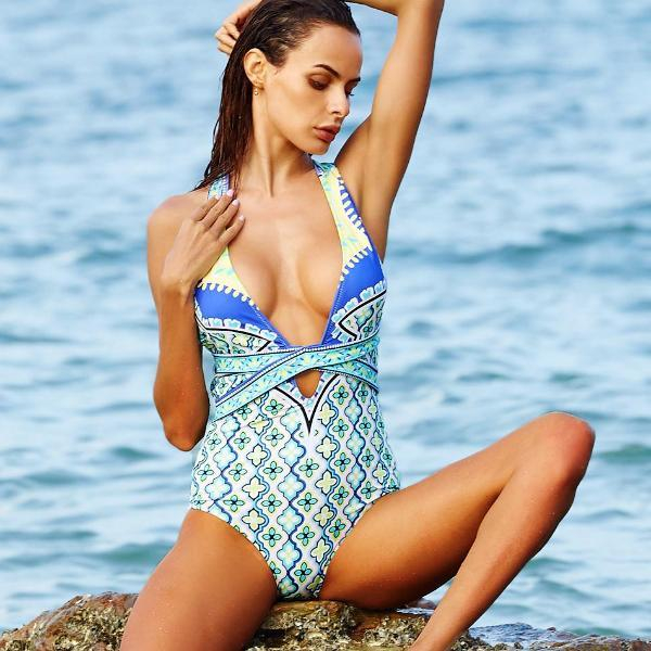 Blue Floral Geometric High Cut Bathing Suit by Pesci Moda