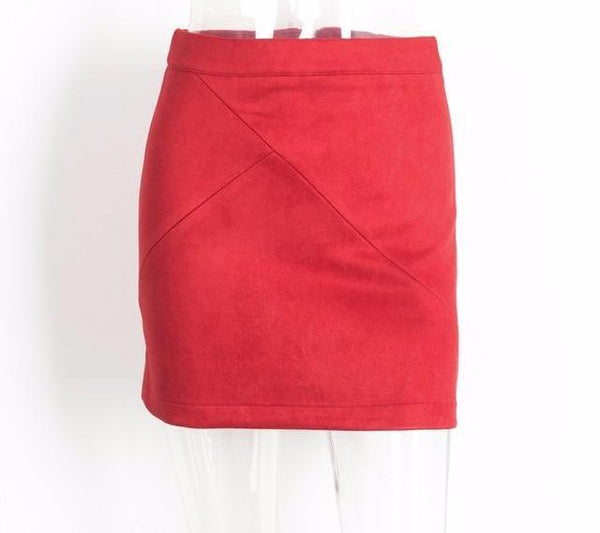 Vintage Leather Suede Pencil Skirt by Pesci Moda